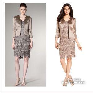 Tahari Lace Dress Suit With Satin Jacket Size 4